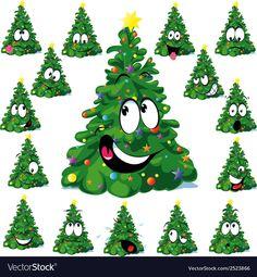 Illustration of Christmas tree cartoon with star vector art, clipart and stock vectors. Cartoon Christmas Tree, Cool Christmas Trees, Christmas Tree Crafts, Christmas Drawing, Christmas Clipart, Christmas Animals, Christmas Pillow, Christmas Decorations To Make, Christmas Humor