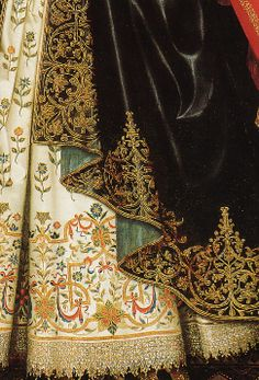 Textiles in art William Larkin, Portrait of Lady Dorothy Cary (detail), 1615