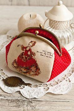Купить Косметичка с фермуаром Шарман . - ярко-красный, рисунок, косметичка из ткани, косметичка ручной работы