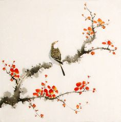 birds on a plum painting | Chinese Paintings > Plum Blossom