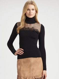 red valentino black lace tops   Red Valentino Lace Trimmed Wool Turtleneck Top in Black   Lyst