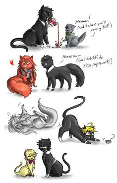 Black Butler as cats! Oh my gosh! Ciel and Sebastian are such a cute pair! I like Will's cat form too.