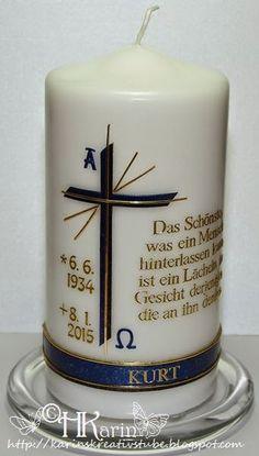 "Karins Kreativstube: Trauerkerzen ""Kurt"" blau - braun Altar, Pillar Candles, Confirmation, Communion, Inspiration, Candle Arrangements, Pictures, Weddings, Candle Art"