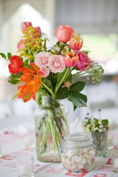 i probably pinned this one already--but just in case i missed it, i am again! love it :) soooo sweet Flowers In Jars, Bright Flowers, Orange Flowers, Beautiful Flowers, Coral Orange, Wild Flowers, Floral Wedding, Wedding Bouquets, Wedding Flowers