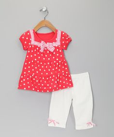 Take a look at this Red & White Polka Dot Tunic & Shorts - Toddler by Sweet Charlotte on #zulily today!