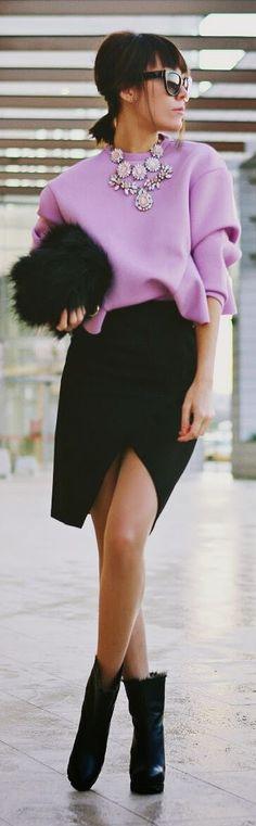 Lavender Retrofit Structured Peplum Sweatshirt by J'adore Fashion