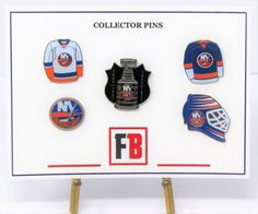 Collector pin set 5 New York Islanders, exclusive sets from Fanbundles, Collector pins at GREAT VALUE! Canada's sports gift box service, combos available in CAD or build your OWN BOX! New York Islanders, Sports Gifts, Stanley Cup, The Collector, Ea, Skateboard, Hockey, Content, Skateboarding