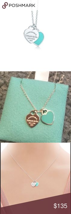"Tiffany & Co. double heart blue tag necklace Not accepting offers. New in dust bag and box. Never worn. Inspired by the iconic key ring first introduced in 1969, the Return to Tiffany collection is a classic reinvented. A delicate duo of engraved tags on a simple link chain exudes sophistication and elegance. Sterling silver with Tiffany Blue® enamel finish 16"" link chain. Size: mini Tiffany & Co. Jewelry Necklaces"