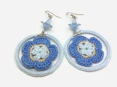 Blue Crochet Flower Earrings with Lucite Flower by JagataraArt