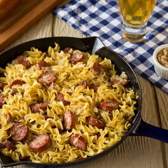 Egg noodles tossed with juicy kielbasa, sauerkraut and grainy mustard satisfy a craving for comfort.