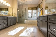 Gray painted master bath cabinets - shaker style doors by TaylorCraft Cabinet Door Company