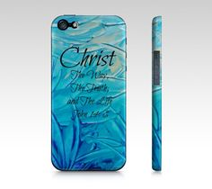 CHRIST The Way The Truth and The Life- Choose iPhone 4 4S or 5 5S 5C Hard Case Beautiful Turquoise Blue Abstract Scripture Biblical Verse