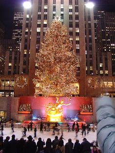 Rockefeller Center - New York City I want to be proposed to while ice skating in the snow in the middle of the rink right in front of the tree and have a secret photographer take pictures! How perfect would this be!!!?