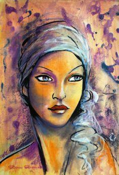 """Dam Domido """"""""Portrait rétro, peinture art déco expressioniste :  L'énigmatique Dame du lac......"""