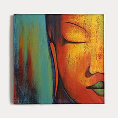 Colorful, energetic Buddha face