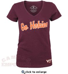 Go Hokies! Ladies Cheer V-Neck Shirt