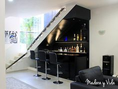 Home Stairs Design, Home Room Design, House Design, Home Bar Rooms, Home Bar Decor, Stairs In Living Room, House Stairs, Bar Under Stairs, Modern Home Bar