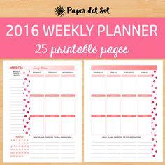 Weekly Planner Printable 2016 to 2016 Weekly Planner Sheets, School Calendar, School Planner, Calendar 2017, Teacher Planner, Monthly Planner Printable, Calendar Printable, Planner Stickers, 2017 Planner, Happy Planner