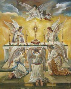 Angylion: Angels and all of Heaven are present at every mass to worship Jesus in the Eucharist. But our unbelief does not allow us to see. Catholic Art, Roman Catholic, Religious Art, Jesus Christus, I Believe In Angels, Religious Pictures, Divine Mercy, Angels In Heaven, Heavenly Angels