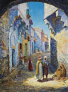 Algérie - Peintre Français   ROGER MARIUS DEBAT (1906-1972), huile sur toile , Titre: Constantine, l'ancienne ville, Conservation: De nombreuses oeuvres de cet artiste sont exposées au Musée Cirta de Constantine