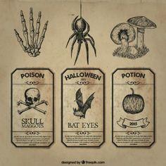 Retro halloween labels vector collection