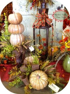 gorgeous grouping of pumpkins and textures with the vintage lantern...love!