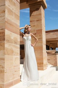 Cheap 2014 Lace - Discount Beach Wedding Dresses Halter Sheath Floor Length Chiffon Online with $117.49/Piece | DHgate