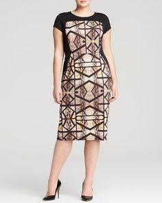 anna scholz plus Digital Print Jersey Dress - professional fashion | office style