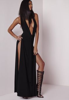 Missguided - Peace   Love Plunge Maxi Dress Black