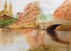 Central Park Bridge Watercolor Painting - Bow Bridge Original Watercolour Painting - New York City - NYC in Fall - Central Park Lake Autumn by NiagaraGlassMosaics on Etsy