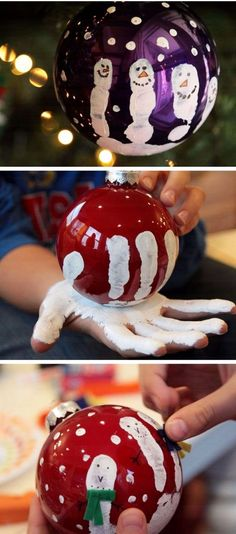 DIY Christmas Craft Ideas for Kids - Easy Handprint Ornament for kids to make #craftideasforkidseasy