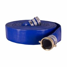 """3/"""" x 100/' Heavy Duty PVC Lay Flat Water Discharge Hose with Pin Lug Connector"""