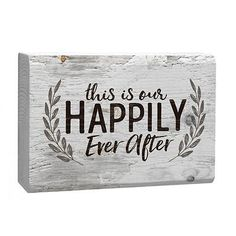 This Is Our Happily Ever After Laurel Wreath White 4 x 5 Inch Solid Pine Wood Barnhouse Block Sign ** Visit the image link more details. (This is an affiliate link and I receive a commission for the sales) Word Block, Little Cabin, Laurel Wreath, Happy Fall Y'all, Decorative Signs, Choose Joy, Family Signs, Solid Pine, How To Distress Wood