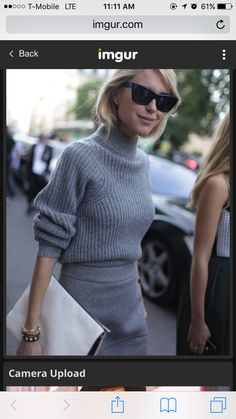 Gray turtleneck, gray skirt, work outfit