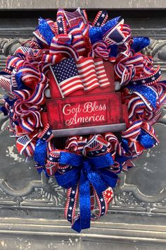 This God Bless America Patriotic wreath is a great anytime, year-round wreath.when are we NOT Patriotic! The wreath was easy to make since we Mesh Ribbon Wreaths, Christmas Mesh Wreaths, Tulle Wreath, Burlap Wreaths, Door Wreaths, Winter Wreaths, Floral Wreaths, Spring Wreaths, Yarn Wreaths