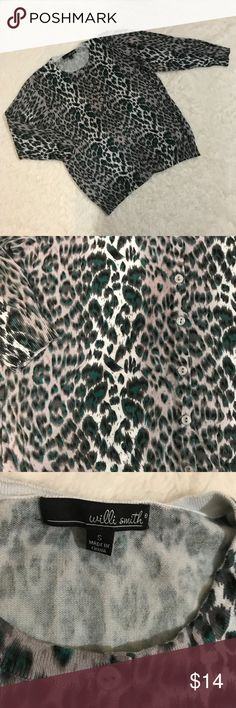 Will Smith Leopard/Animal Print Cardigan Button up front long sleeve black, white and turquoise leopard print.  No rips, holes or stains.  Smoke free home. Excellent condition Willi Smith Sweaters Cardigans