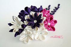 Tsumami Kanzashi Cherry Blossom Kanzashi Wedding Fabric Flower Hair Comb Accessories Purple Hot Pink Cream White