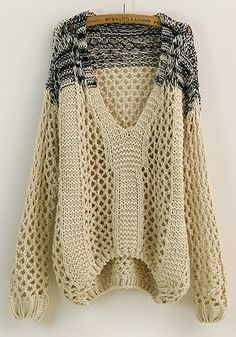 Love...Love...Love this Beige Open Weave Knit Patchwork Hollow-out V-neck Loose Thick Cotton Sweater #sweater #fashion