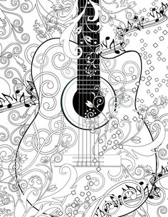 adult coloring page printable adult guitar free by juleezgallery - Fun Colouring Sheets