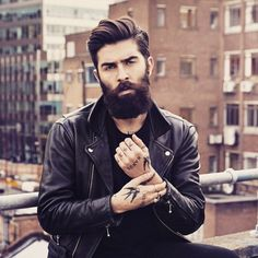 Chris John Millington - full thick dark beard and mustache beards bearded man men mens' style clothing model fashion winter tattoos tattooed bearding #beardsforever