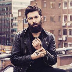 Chris John Millington - full thick dark beard and mustache beards bearded man men mens' style clothing model fashion winter tattoos tattooed bearding #beardsforever