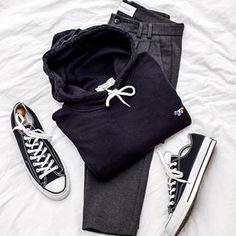 Keeping things comfortable and casual this Sunday. I am just chilling today with good food and a bit of editing. What are you up to? • • • • #kirsune #converse #holzweiler #flatlay #endclothing #maisonkitsune #converse70s