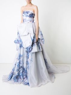 Isabel Sanchis floral print strapless gown