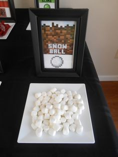 Snowballs at a Minecraft birthday party!  See more party ideas at CatchMyParty.com!