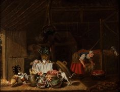 """Lote: 35013879, POTTER, Pieter Symonsz (Países Bajos, 1597 – 1652).  """"En el establo"""".  Óleo sobre tabla.  Con la inscripción """"Evfehayen"""" en la zona inferior izquierda.  Presenta restauraciones en el rostro de la mujer.  Medidas: 60 x 78 cm; 106 x 124 cm (marco)."""
