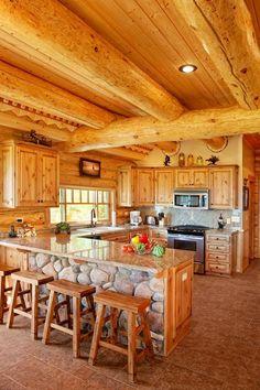 Log home kitchen | LOVE the Cobblestone!