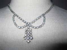 Vintage Rhinestone Necklace  1950s Bridal by ladyscarletts on Etsy