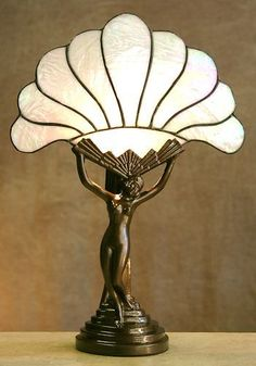 VINTAGE ART DECO NUDE LADY LAMP w/ SLAG FAN-SHAPED GLASS SHADE | Lamps and chandeliers | Pinterest | Vintage Art, Art deco and Deco