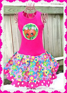 girls Shopkins dress Strawberry Kiss 18 by BlossomBlueBoutique Twin Outfits, Stylish Outfits, Fall Outfits, Kids Outfits, Cute Outfits, Stylish Clothes, Shopkins Outfit, Shopkins Clothes, Shopkins Bday