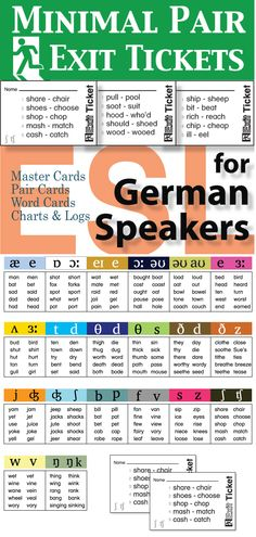 This 20 card set targets the most problematic pronunciation issues for German speakers of English as a second language. Exit Tickets are an excellent cool-down activity and a perfect method for assessing pronunciation.
